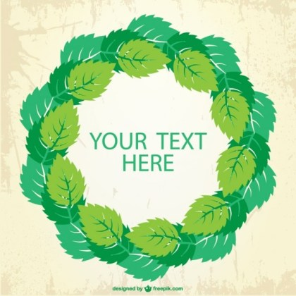 Green Leaves Frame Background Free Vector