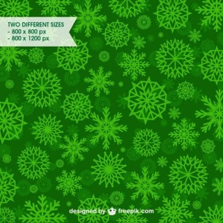 Green Snowflakes Pattern Free Vector