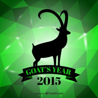 Green Year of The Goat Card Free Vector
