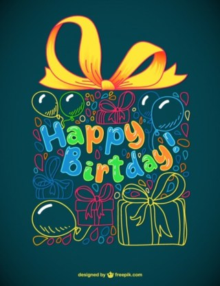 Greeting Card for Birthday Free Vector