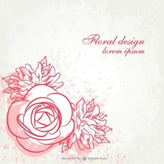 Grunge Floral Line Art Design Free Vector