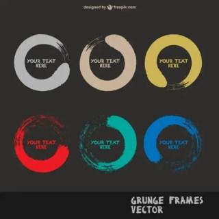 Grunge Round Frames S Free Vector