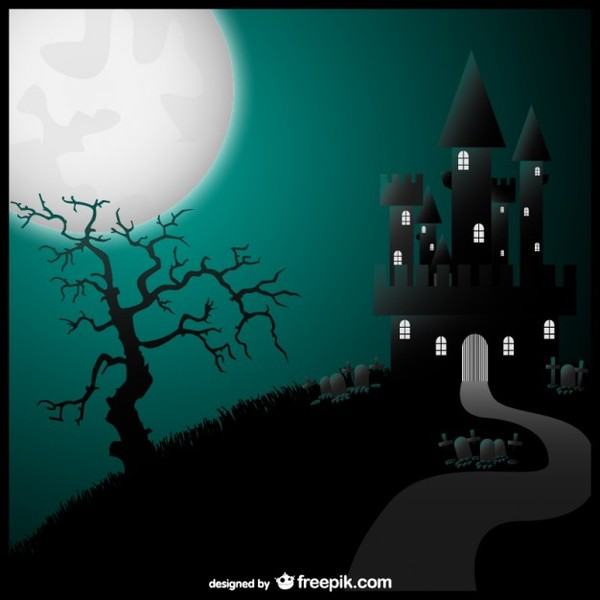 Halloween Art Castle Illustration Free Vector