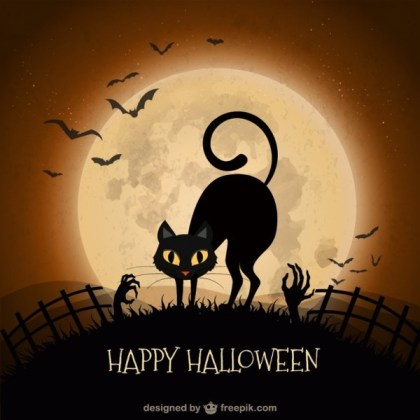 Halloween Background with Black Cat Free Vector