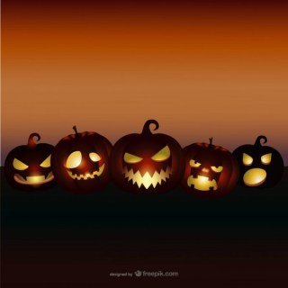 Halloween Background with Evil Pumpkins Free Vector