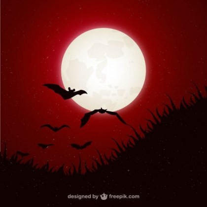 Halloween Background with Moon and Bats Free Vector
