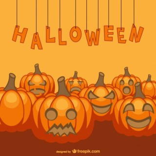 Halloween Background with Pumpkins Free Vector