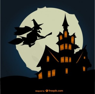 Halloween Background with Silhouettes Free Vector