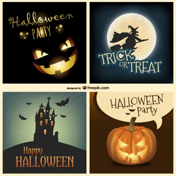 Halloween Backgrounds Collection Free Vector