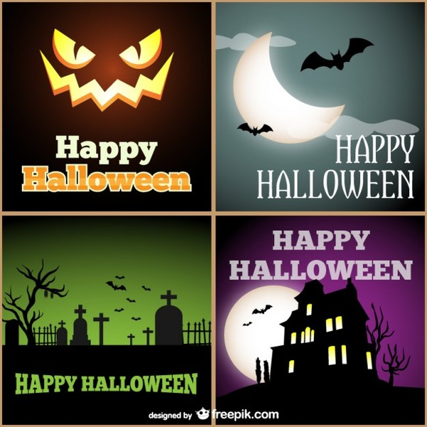 Halloween Cards Pack Free Vector