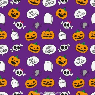 Halloween Cartoon Pattern Free Vector
