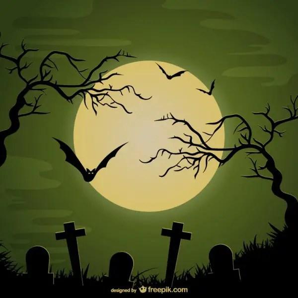 Halloween Cemetery Background Free Vector
