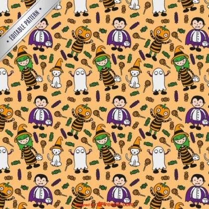Halloween Characters Pattern Free Vector