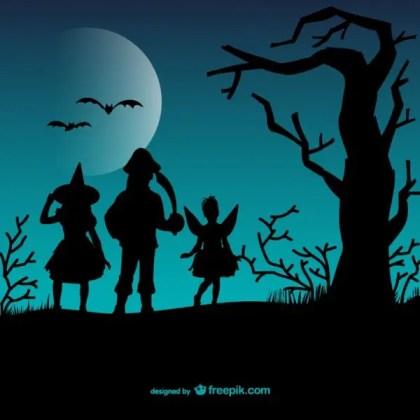 Halloween Children Silhouettes Free Vector