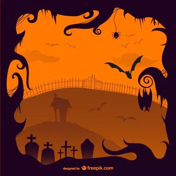 Halloween Creepy Cemetery Illustration Free Vector
