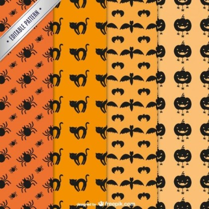 Halloween Editable Patterns Pack Free Vector