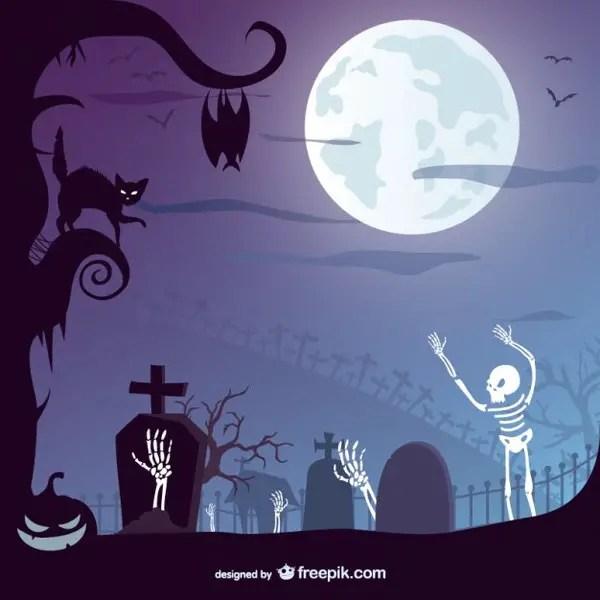 Halloween Graveyard Design Free Vector