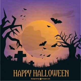 Halloween Graveyard Template Illustration Free Vector
