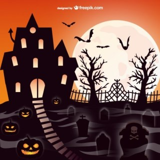 Halloween Mansion Graveyard Scene Free Vector