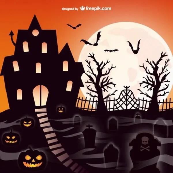 Halloween Mansion Graveyard Scene Free Vector