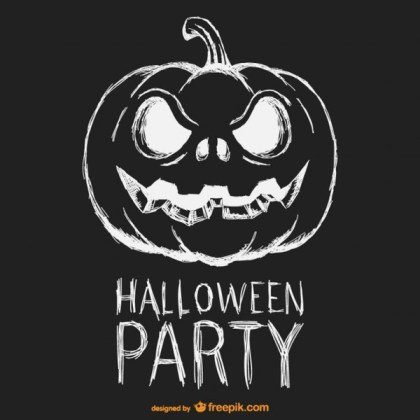 Halloween Party Black and White Poster Free Vector