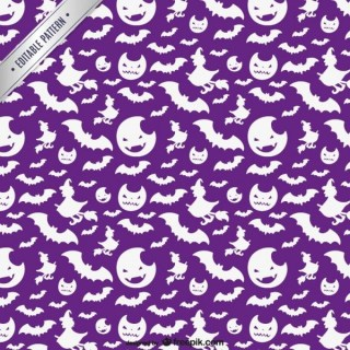 Halloween Pattern with White Silhouettes Free Vector