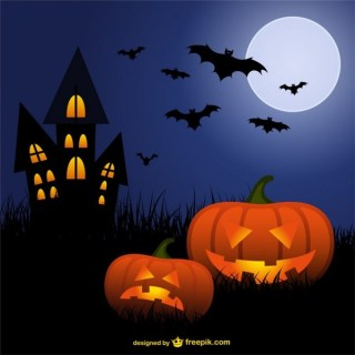 Halloween Pumpkins and Bats Cartoon Free Vector