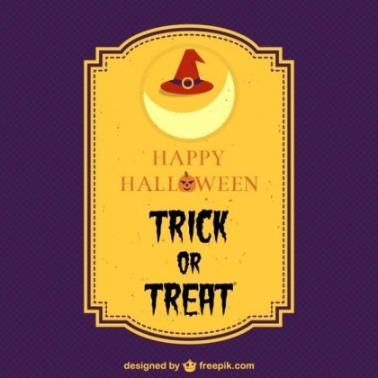 Halloween Trick Or Treat Card Free Vector