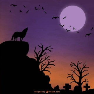 Halloween Wolf and Moon Background Free Vector