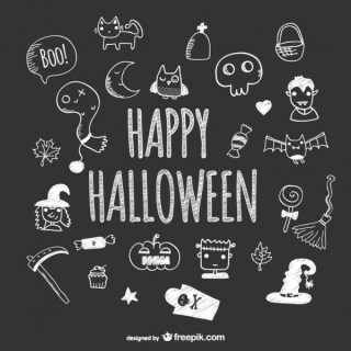 Hand Drawn Cute Icons of Halloween on Blackboard Free Vector