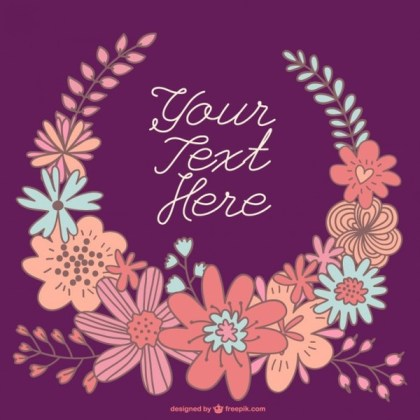 Hand-Drawn Floral Wreath Card Template Free Vector