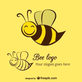Happy Bee Logo Template Free Vector