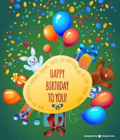 Happy Birthday Cartoon Card Design Free Vector