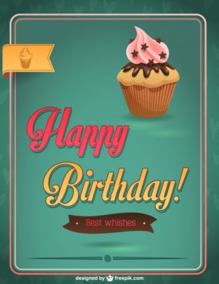 Happy Birthday Cupcake Design Free Vector