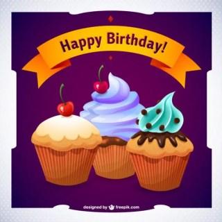 Happy Birthday Cupcake Graphics Free Vector
