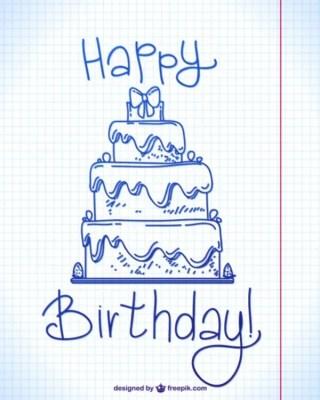 Happy Birthday Ink Doodle Design Free Vector