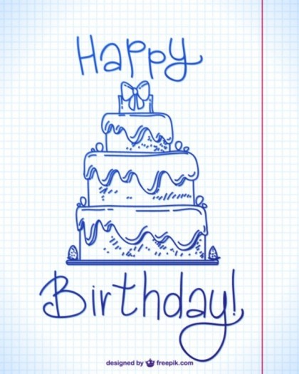 Happy Birthday Ink Doodle Design Free Vector