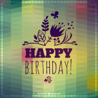 Happy Birthday Lettering Abstract Template Free Vector