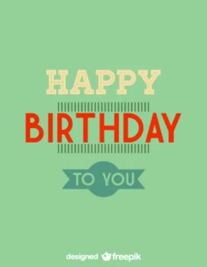 Happy Birthday Minimalist Retro Card Design Free Vector