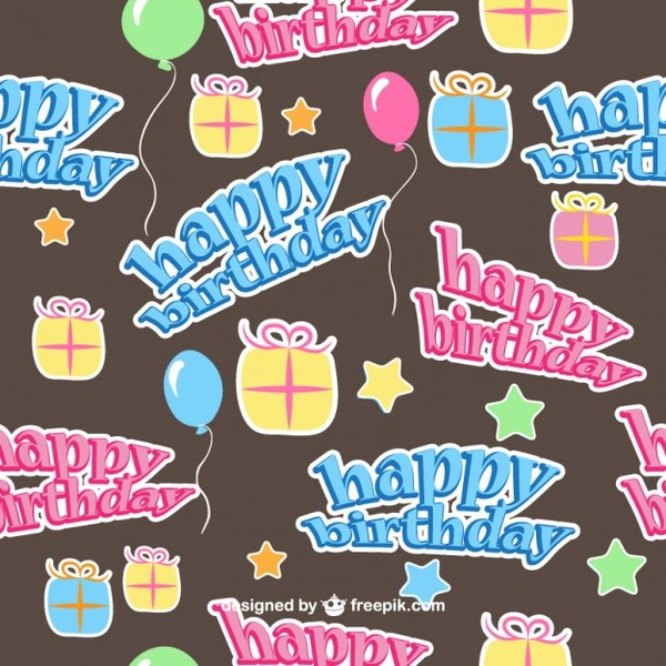 Happy Birthday Seamless Pattern Free Vector