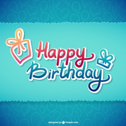 Happy Birthday Typographic Illustration Free Vector