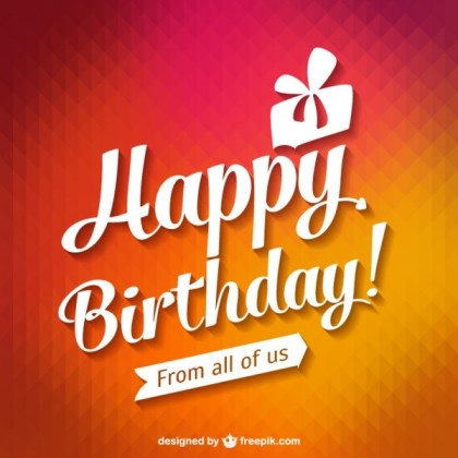 Happy Birthday Typography Card Free Vector