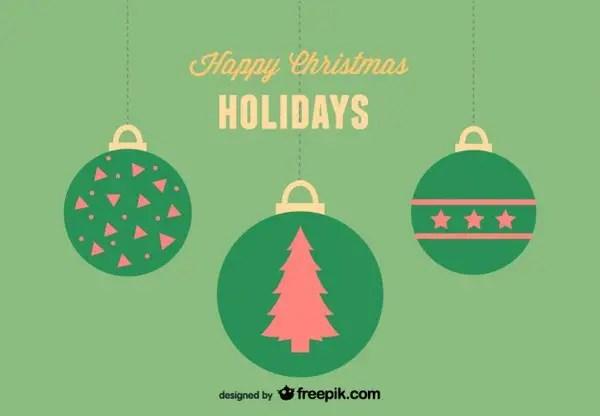 Happy Christmas Holidays Greeting Card with 3 Christmas Balls Free Vector