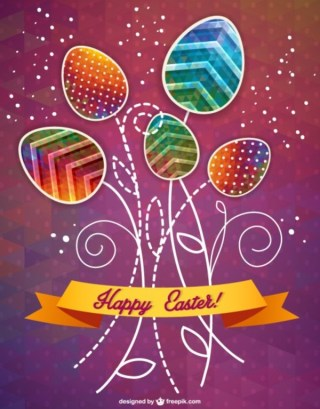 Happy Easter Banner Card Free Vector
