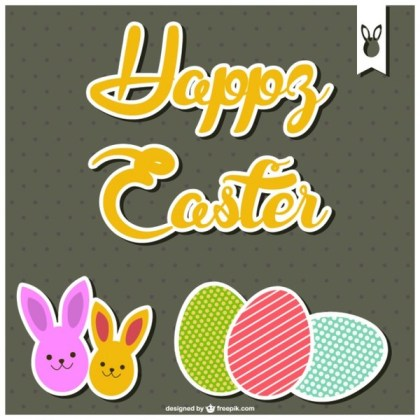 Happy Easter Card Template Free Vector