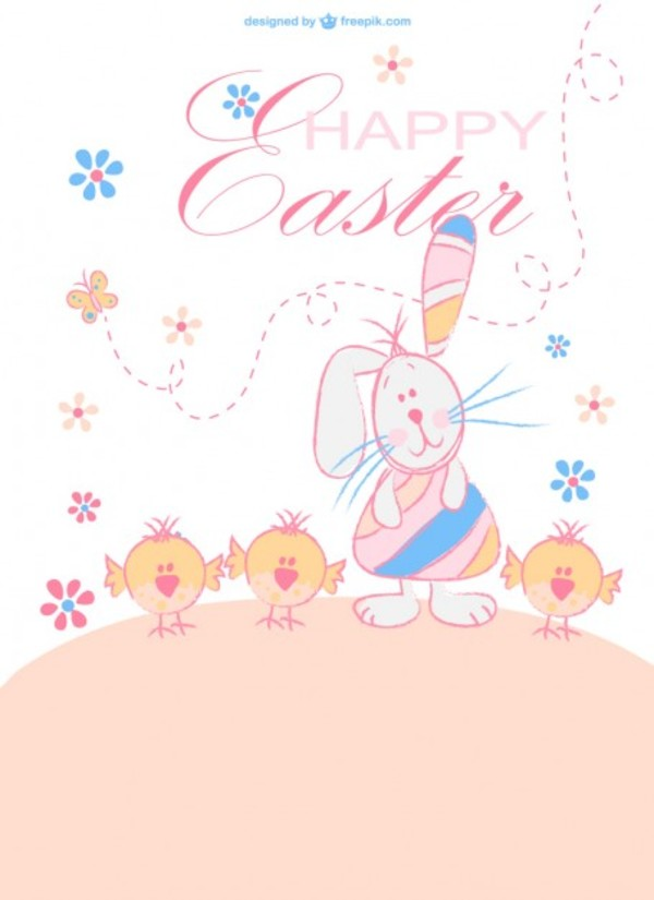 Happy Easter Cartoon Characters Free Vector