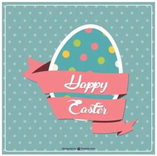 Happy Easter Retro Card Free Vector