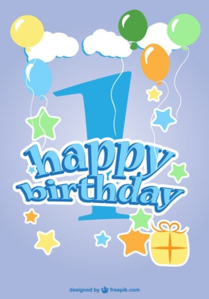 Happy First Anniversary Free Vector