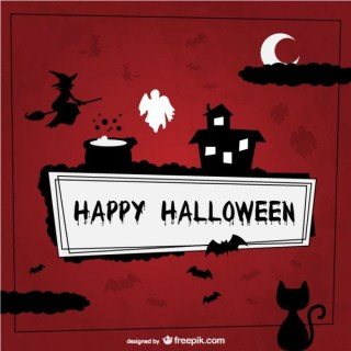 Happy Halloween Background with Silhouettes Free Vector