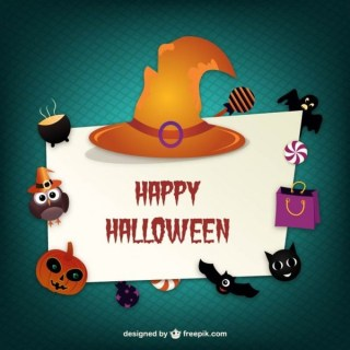 Happy Halloween Card Free Vector
